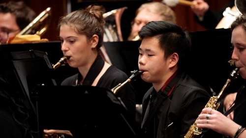 Hannah and Devon in Dartmouth Wind Ensemble fall 2019