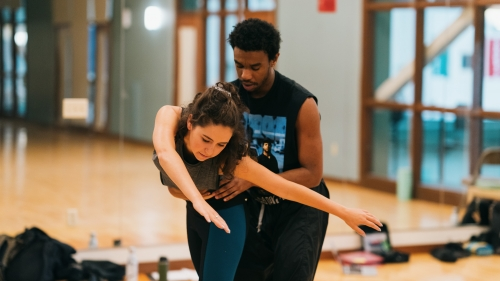 """Veronica Burt '16 and Maurice Ivy rehearse """"Interior"""" for this year's VoxLab."""