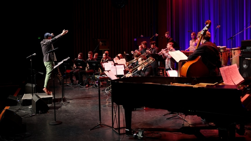 Taylor Ho Bynum conducts the Coast Jazz Orchestra