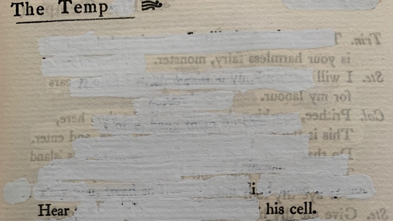 Erased page of text Tempest Matthea Harvey