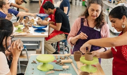 Dartmouth students in the Ceramics Studio