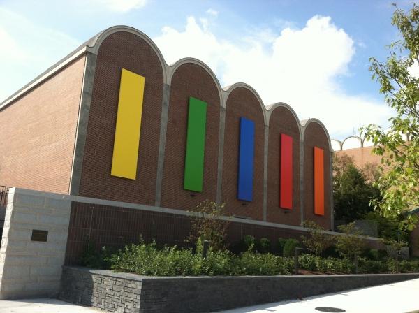 Ellsworth Kelly installation on the exterior of Spaulding Auditorium