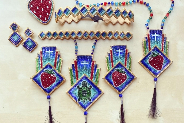 Cinnamon Kills First Comanche beadwork