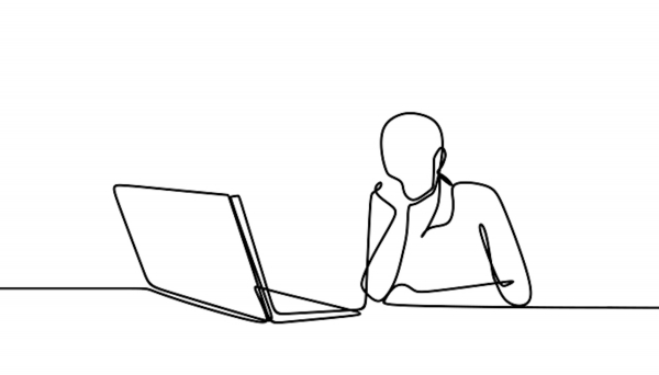 minimal line drawing of person sitting and looking at laptop