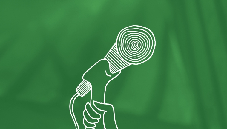 illustration of microphone on green texted background