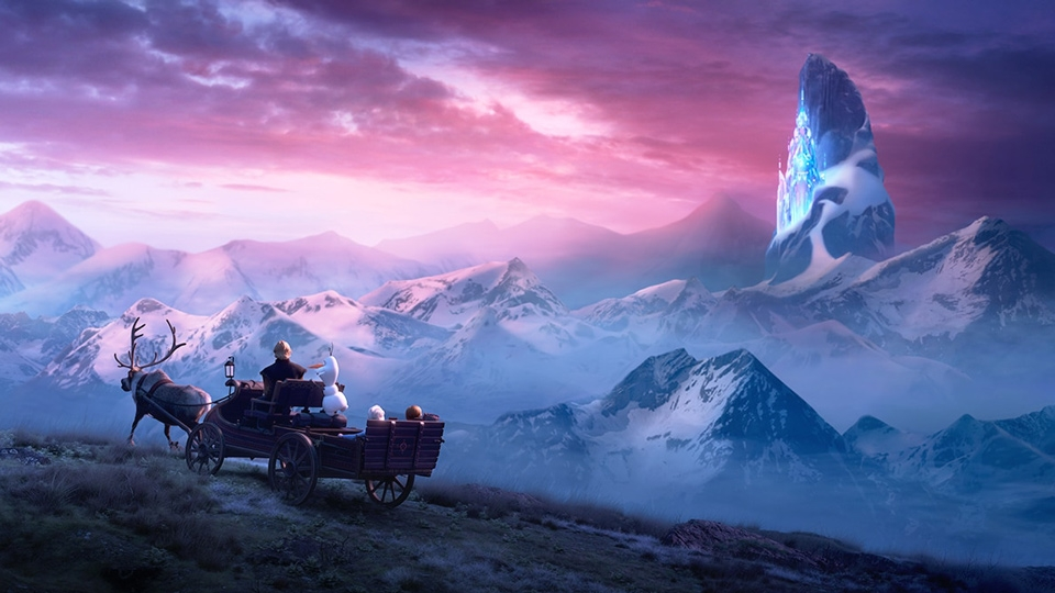Sven pulling Elsa, Anna, Kristoff, and Olaf by ice mountain - Frozen 2 - Hop Film