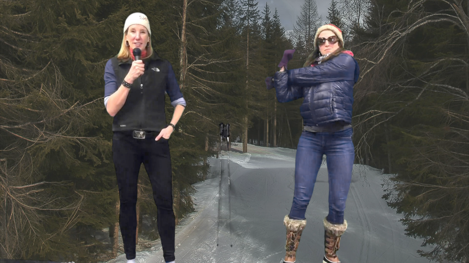 Sydney Stowe and Johanna Evans standing in front of a ski slope for Olympic Dreams promo