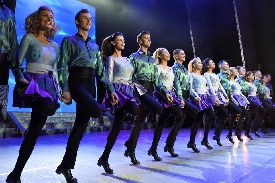 A line of Riverdance dancers