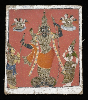 RAMA ATTENDED BY SITA AND LAKSHMANA